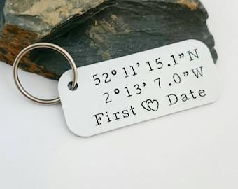 Coordinates Keyring - Latitude and Longitude GPS - Hand stamped co-ordinates keyfob - Custom Coordinates - Personalised Valentines Gift UK