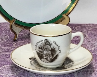 Carlsbad Caverns-Demitasse Cup And Saucer-Views Of America By Enco-Vintage Souvenierware-22K Gold Rim-Vintage Stoneware-Vintage Transferware