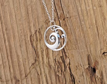 Sterling Silver Ocean Wave Openwork Pendant Necklace Surf Beach