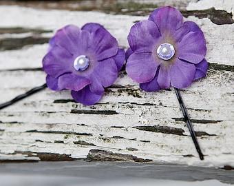 Hair Pins  Hair Accessories  Purple Flower  Hair Clips