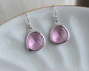 Silver Light Pink Earrings Blush Pink Jewelry - Pink Bridesmaid Earrings - Blush Wedding Earrings - Bridal Earrings - Wedding Jewelry