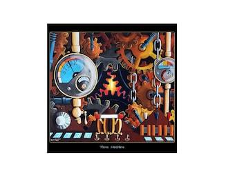 Time Machine print//11x11 print//brown//gold//men//women//children//living room//bed room//kitchen//surrealismwedding gift//wedding gift