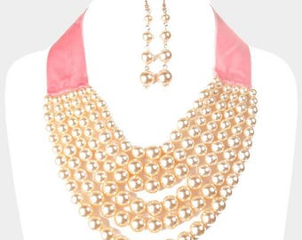 Cute Multi Strand Statement Pearl Necklace Chain Set