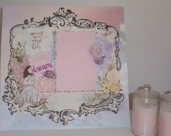 Handmade Scrapbook Page - I just want pretty things and a pair of Fairy Wings