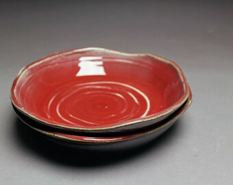 Handmade Pair of Pasta Bowls (altered) - Glossy Red