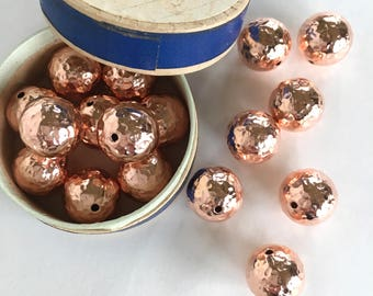 Copper Beads, Hammered Copper Beads, 12mm, 8Pcs