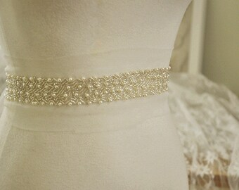 Rhinestone Trim , Crystal Beaded Trim for Bridal Belt Wedding Gown Sash