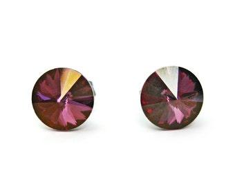 Boucles d'oreilles violet doré, Puces d'oreilles mauve en cristal Swarovski rivoli 8mm, boucles d'oreilles acier inoxydable, cadeau mariée