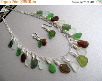 Mothers Day Sale Genuine Sea Glass Jewelry Set - Beach Glass Necklace -Beach Glass Jewelry-Ocean Jewelry-Woman Gift-Pure Sea Glass from Prin