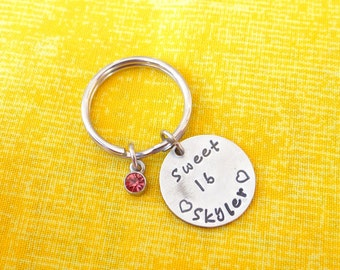 Sweet 16 Keychain, sweet 16, daugher gift, stamped keychain, birthday gift, birthday keychain, valentines gift for daughter, custom keychain