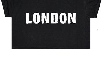 London Crop Top T Shirt Tee Womens Girl Funny Fun Tumblr Hipster Swag Grunge Kale Goth Punk New Retro Vtg Fashion Indie Boho City British UK