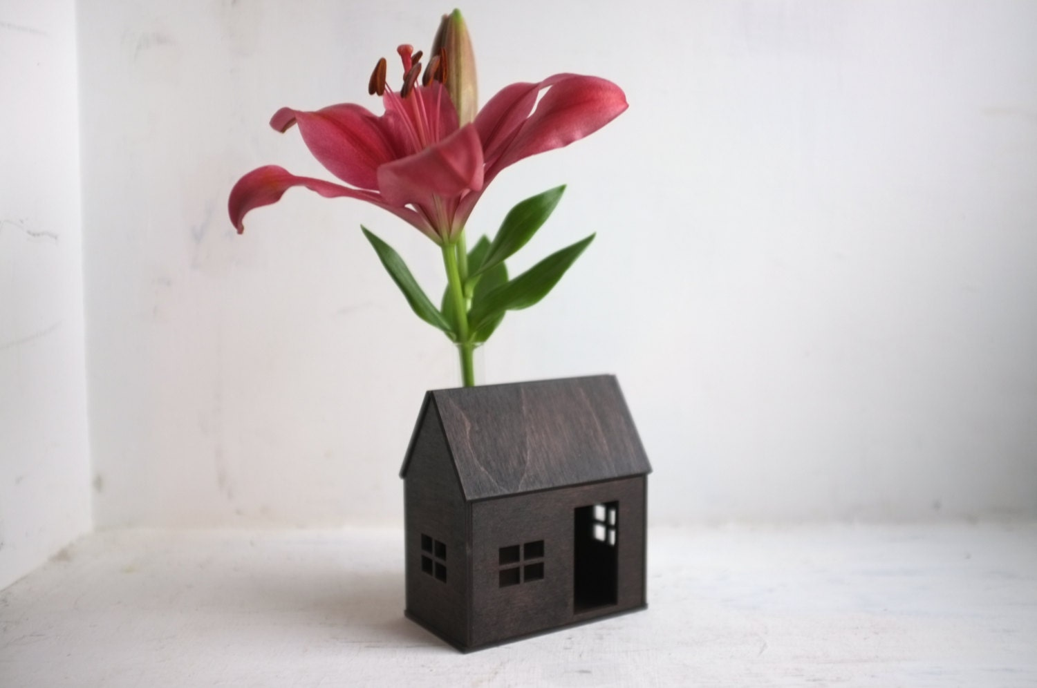 Little bud vase house small wooden cabin in espresso with zoom floridaeventfo Images