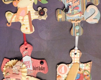 Altered Art Puzzle Pieces, Scrapbook Embellishments, Gift Tags