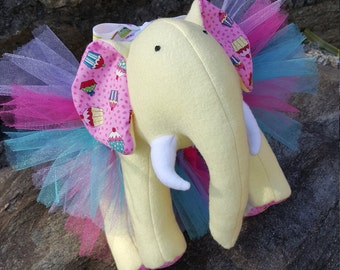 "Yellow Plush Elephant - ""Cupcake"""