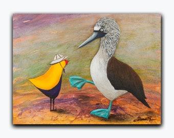 Bird ART - Original Animal Painting - Blue Footed Booby Art - Yellow Blue Inspirational Decor 9 x 12 Canvas