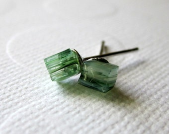 Aqua Cube Earrings Cube Stud Earrings Rough Cut Earrings Glass Cube Studs Stained Glass Nugget Earrings Hand Cut Earrings Tiny Cube Studs