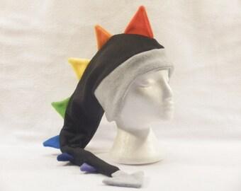 Rainbow Dragon Fleece Hat Mens Womens Childrens Dinosaur Ear Flap Hat by Ningen Headwear