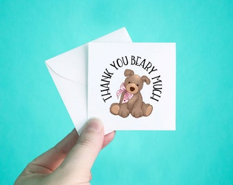 """Set of 12 Thank You Cards with Envelopes, Thank You Beary Much Note Cards, Heart Thank You Mini Note Cards, Thank You Notes, 3 x 3"""""""