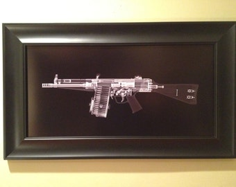 HK 51 machine gun CAT scan gun print - ready to frame