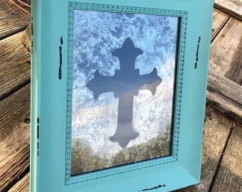 """8x10 Antiqued Mirror with """"Cindy Cross"""" Pattern in Distressed Aqua Frame"""