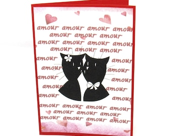 "Dual red and white Valentine couple cats inscriptions ""amour"""