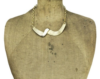 Chunky Gold Bib Necklace, Chunky Gold Necklace, Gold Chain Necklace