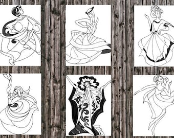 44 Dancing Women Adult Coloring Pages Instant Download Printable PDF 8x10 Hours of Fun