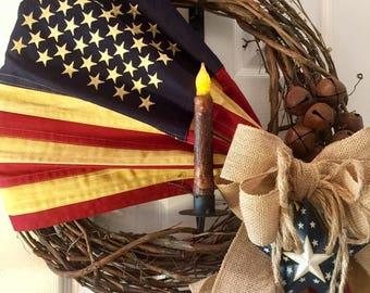 Flag Wreath American Decor Hanger