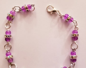 Purple and jeweled silver beaded bracelet