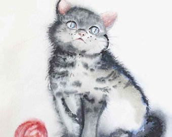 Cat painting, Original watercolor painting, Nursery decor, Nursery art, Watercolor cat painting, Watercolor animal painting, kids room decor