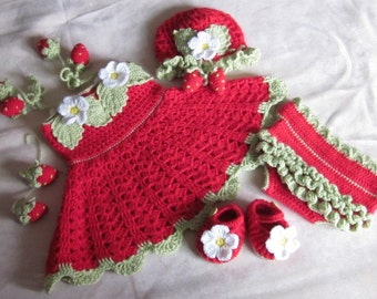 Custom order! Handmade Baby Girl Crochet Dress Set, Hat, Head Band, Booties and Diaper Cover With strawberry/Flowers decoration (3-12 month)