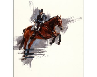 Horse Art - Matted Print of Original Oil Painting - Equestrian, Equine, Riding, Racing, Competition, Horses, Horse Lovers, Animals