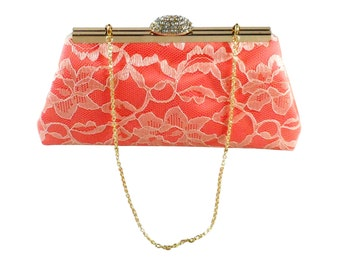 Bridesmaid Gift Clutch, Calypso Coral And Champagne Bridal Clutch, Wedding Clutch, Mother Of The Bride Gift, Bridal Shower Gift, Gift Ideas