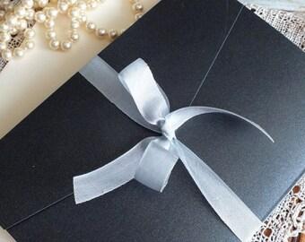 Vintage Romantic Elegant Grey Linen Pocketfold Wedding Invitations Handmade SAMPLE by avintageobsession on etsy