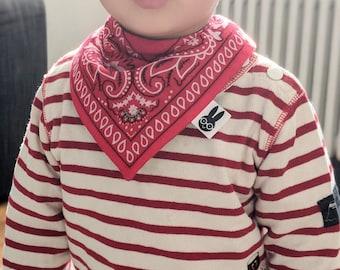 Red embroidered bandana bib, bandana print bib, dribble bib, baby bib, toddler bib, modern baby bib, new baby gift, baby shower gift