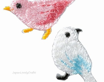 2 Bird Embroidered Iron On Patch, Japanese Iron on Applique, Made in Japan, Cute Embroidery Applique, Pink & White, Sewing Accessories, W055