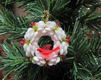 Cherry Wreath Beaded Christmas Ornament
