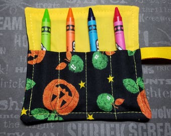 Halloween Mini Crayon Keeper Roll Up Holder  4-Count Party Favor - Pumpkin Patch