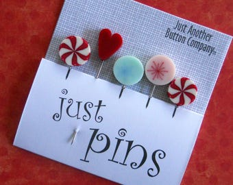 PEPPERMINT HOLIDAY PINS.  Perfect for Decorating Ornaments & Pin Cushions and Woolly Pine Trees pattern.
