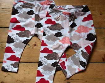 Children's Pink and Red Cloud Jersey Leggings
