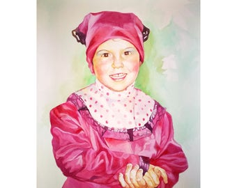 Watercolor Kid Portrait, Little girl watercolor, Easter gift, highly detailed painting, professional portrait artist, Birthday Family Gift