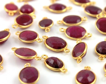 Dyed Red Ruby Bezel Oval Shape Gemstone Component, Gold Vermeil ,  9x11mm, 1 Piece, (BZCT7302-A)