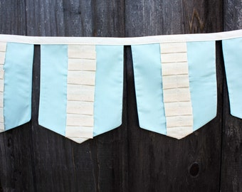 SAMPLE SALE Vintage Ruffle Fabric Banner (blue) (free shipping!)
