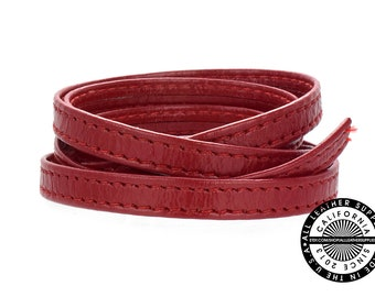 """Genuine Leather Strap, Folded Cherry Red with Double Stitch 6mm (1/4"""" inch) 3 yards (108"""" inches)  (1712)"""