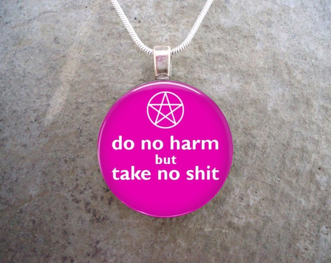 Wiccan Jewelry - Glass Pendant Necklace - Do No Harm But Take No Sh*t - Pink
