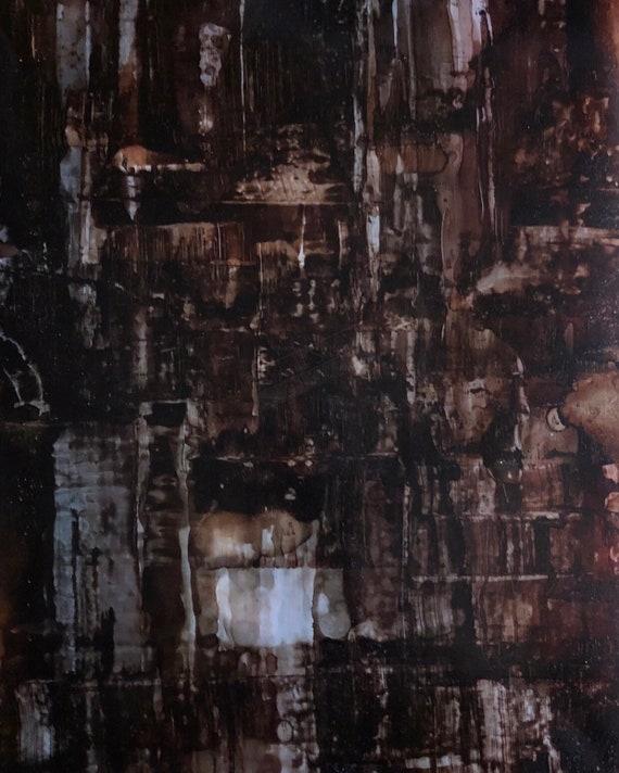 """Original Alcohol Ink Abstract Painting: """"Bubblin' Brown Suga"""" (11"""" X 14"""")"""