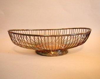 Vintage Leonard Silver Plated Oval Wire Bread Basket