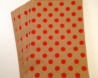 12 Kraft goodie bags with red polka dots Christmas Valentines day sock monkey Party goodie favor treat bags sacks with red polka dots