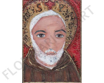Padre Pio - ACEO Giclee print mounted on Wood (2.5 x 3.5 inches) Folk Art  by FLOR LARIOS