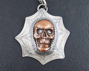 Spiderweb Skull Necklace, skull necklace, skull jewelry, copper silver, sterling silver, halloween, mixed metal, michele grady, skulls